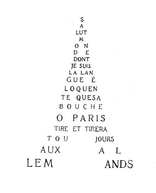 calligramme apollinaire guillaume tour eiffel 1918 © Rue des Archives/RDA