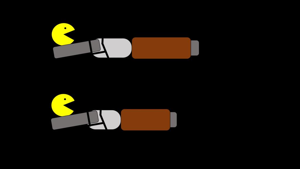 moto vs pacman chute