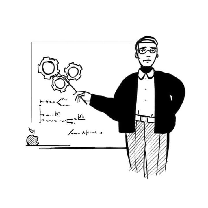 illustration professeur tableau fabriquer moto électrique © jean charles barbe